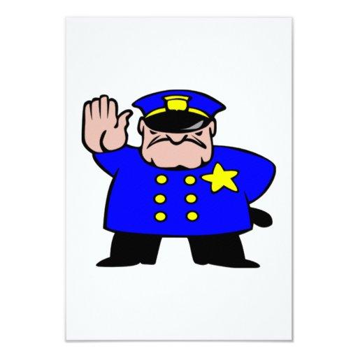"""Oficial de policía del dibujo animado invitación 3.5"""" x 5"""""""