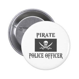 Oficial de policía del pirata pin redondo de 2 pulgadas