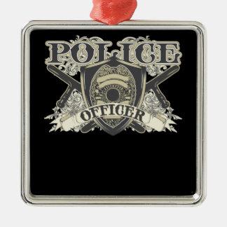 Oficial de policía del vintage adorno cuadrado plateado