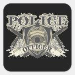 Oficial de policía del vintage calcomanías cuadradass personalizadas