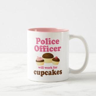 Oficial de policía divertido taza de café de dos colores