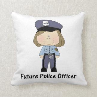 oficial de policía futuro (chica) cojín