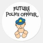 Oficial de policía futuro del bebé pegatinas redondas