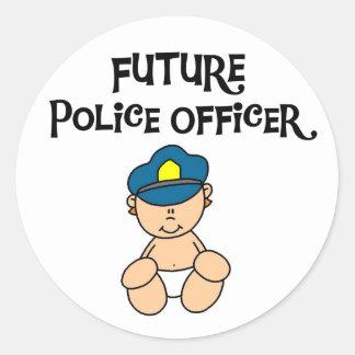 Oficial de policía futuro del bebé pegatina redonda