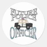 Oficial de policía futuro del crucero de la pegatina redonda