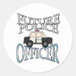 Oficial de policía futuro etiqueta redonda