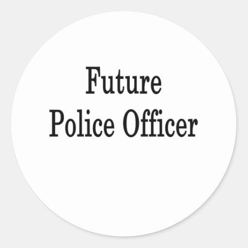 Oficial de policía futuro etiquetas redondas