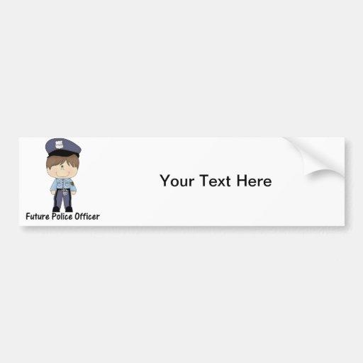 oficial de policía futuro (muchacho) pegatina para auto