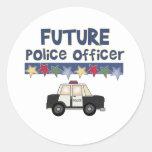 Oficial de policía futuro pegatina redonda