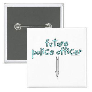 oficial de policía futuro pin cuadrado