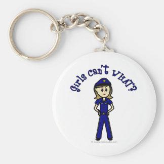 Oficial de policía ligero llavero redondo tipo pin