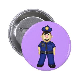 Oficial de policía lindo del dibujo animado pin redondo de 2 pulgadas