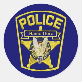 Oficial de policía pegatina redonda