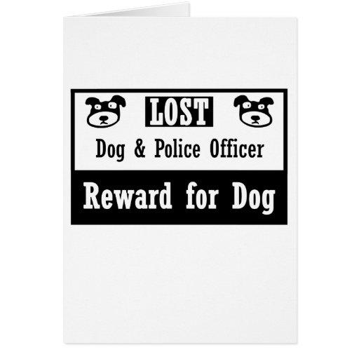 Oficial de policía perdido del perro tarjetas