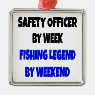 Oficial de seguridad de la leyenda de la pesca adorno cuadrado plateado