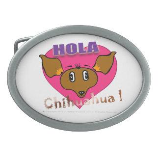 Oficial Hola Chihuahua Hebilla Oval Belt Buckle