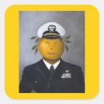 Oficial naval pegatina cuadrada