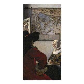 Oficial y chica de risa de Juan Vermeer Tarjetas Fotograficas Personalizadas