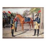 Oficial y guardia del guardia real en 1826 tarjetas postales