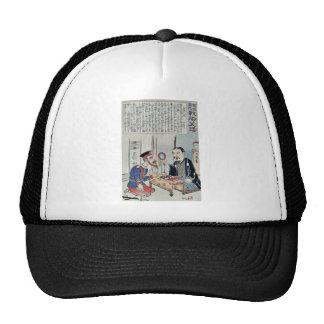 Oficial y librero por Utagawa, Kokunimasa Gorros Bordados