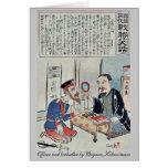 Oficial y librero por Utagawa, Kokunimasa Tarjeta