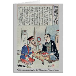 Oficial y librero por Utagawa, Kokunimasa Tarjeta Pequeña