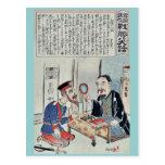 Oficial y librero por Utagawa, Kokunimasa Tarjeta Postal