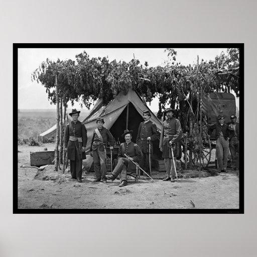 Oficiales de la compañía F en Arlington 1865 Posters