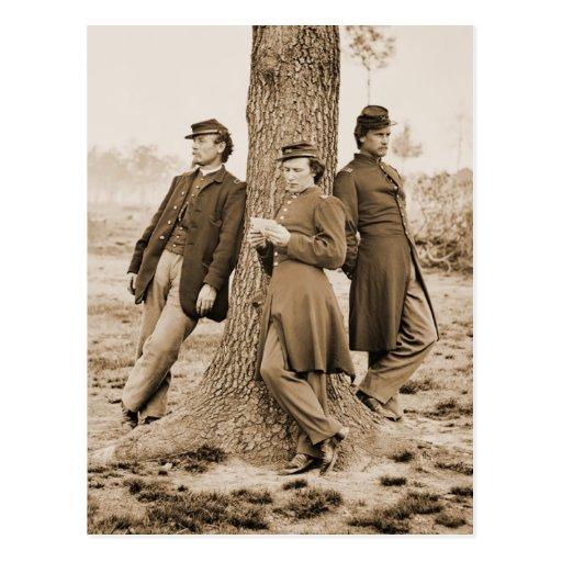 Oficiales de la guerra civil tres tarjeta postal