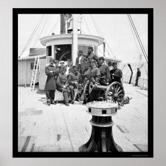 Oficiales de la marina de guerra en USS Philadelph Posters