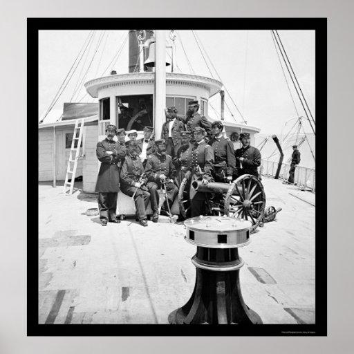 Oficiales de la marina de guerra en USS Philadelph Póster