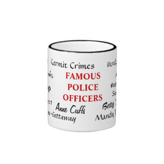 Oficiales de policía famosos - nombres divertidos taza de dos colores