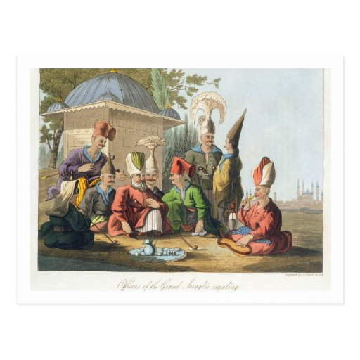 Oficiales del serrallo magnífico Regaling, grabado Tarjeta Postal