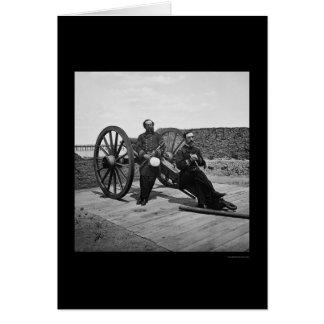 Oficiales navales en un cañón en Charleston, SC Tarjeta De Felicitación