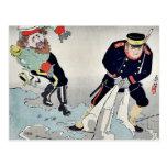 Oficiales rusos, japoneses por Kobayashi, Kiyochik Tarjeta Postal