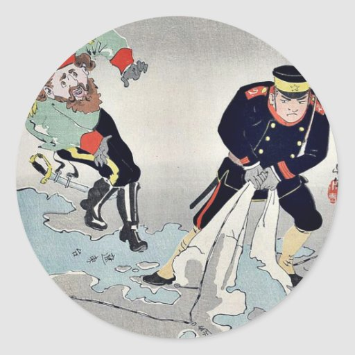 Oficiales rusos, japoneses por Kobayashi, Pegatina Redonda