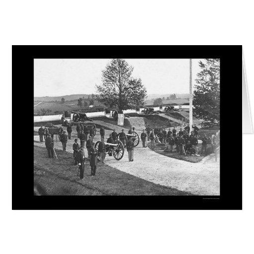 Oficiales y hombres en el fuerte Stevens, DC 1865 Tarjeta De Felicitación