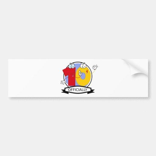 Oficialmente bandera de 10 cumpleaños etiqueta de parachoque