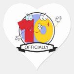 Oficialmente bandera de 10 cumpleaños pegatina de corazon