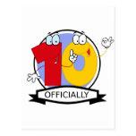 Oficialmente bandera de 10 cumpleaños tarjeta postal
