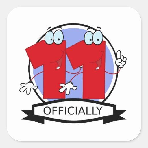 Oficialmente bandera de 11 cumpleaños pegatina cuadradas