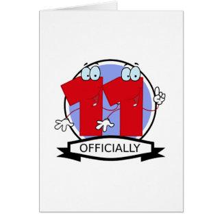 Oficialmente bandera de 11 cumpleaños tarjeta de felicitación