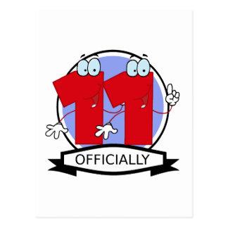 Oficialmente bandera de 11 cumpleaños tarjeta postal