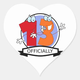 Oficialmente bandera de 13 cumpleaños pegatina en forma de corazón