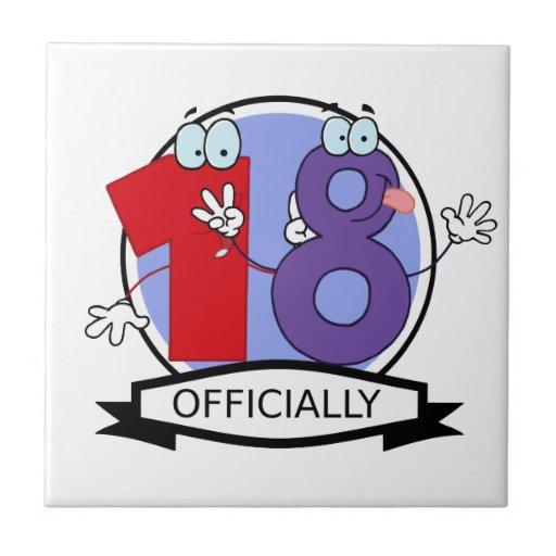 Oficialmente bandera de 18 cumpleaños azulejos ceramicos