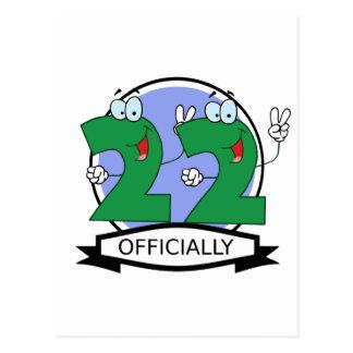 Oficialmente bandera de 22 cumpleaños tarjetas postales