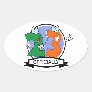 Oficialmente bandera de 23 cumpleaños pegatinas de óval personalizadas