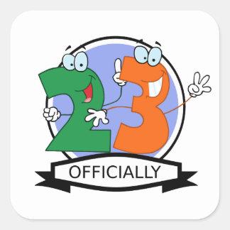 Oficialmente bandera de 23 cumpleaños calcomania cuadradas