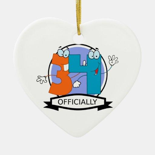 Oficialmente bandera de 34 cumpleaños adorno navideño de cerámica en forma de corazón
