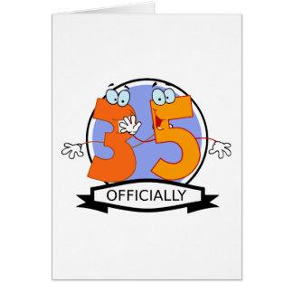 Oficialmente bandera de 35 cumpleaños tarjeta de felicitación